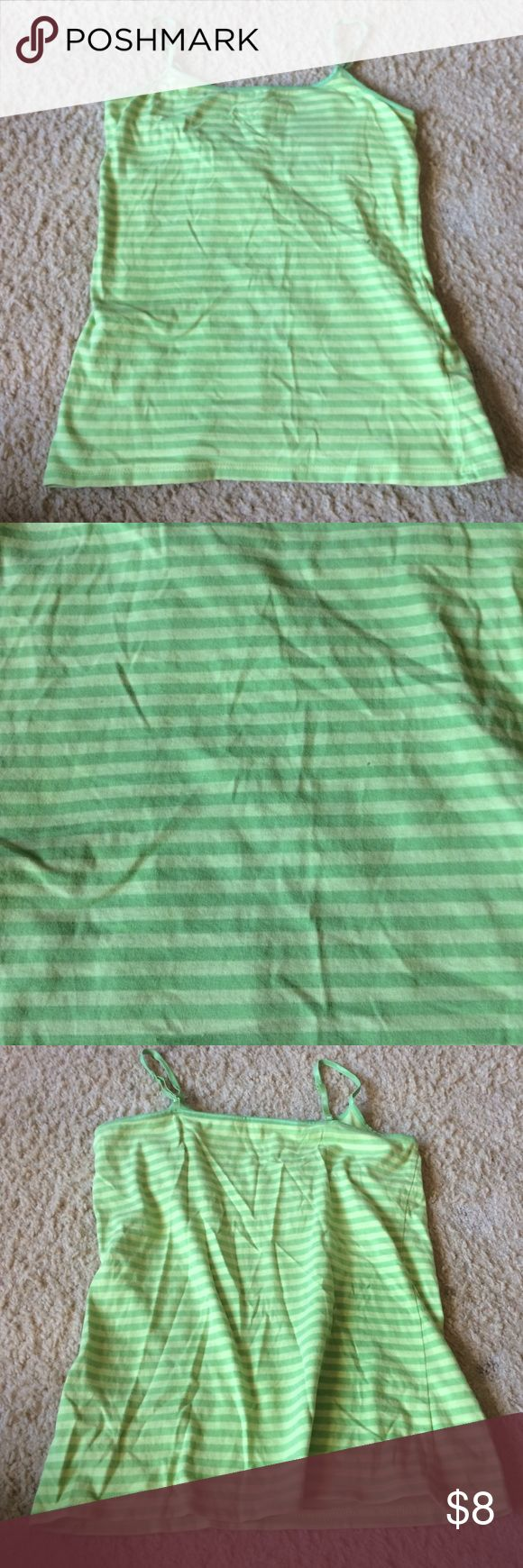 Lime green cami with stripes Lime green cami tank top with stripes. Adjustable straps and built in bra. SO Tops Camisoles