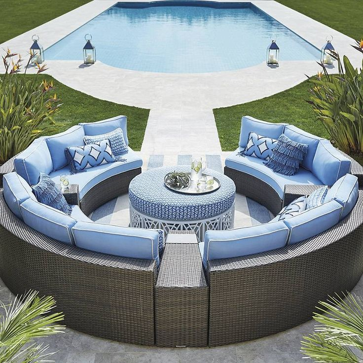 Comfortable cushioned pieces in circular formation make it easy for Pasadena to create the ultimate open-air chat room. Complete the arrangement with end tables, an ottoman, a fire table, a gathering table or an umbrella table. High-quality wicker fibers are woven over powdercoated aluminum frames; 3-year manufacturer's warranty. Included Sunbrella cushions have mesh bottoms for quick-drying convenience.Handwoven all-weather wicker fibersThe weave complements our Palermo, Malibu and othe...