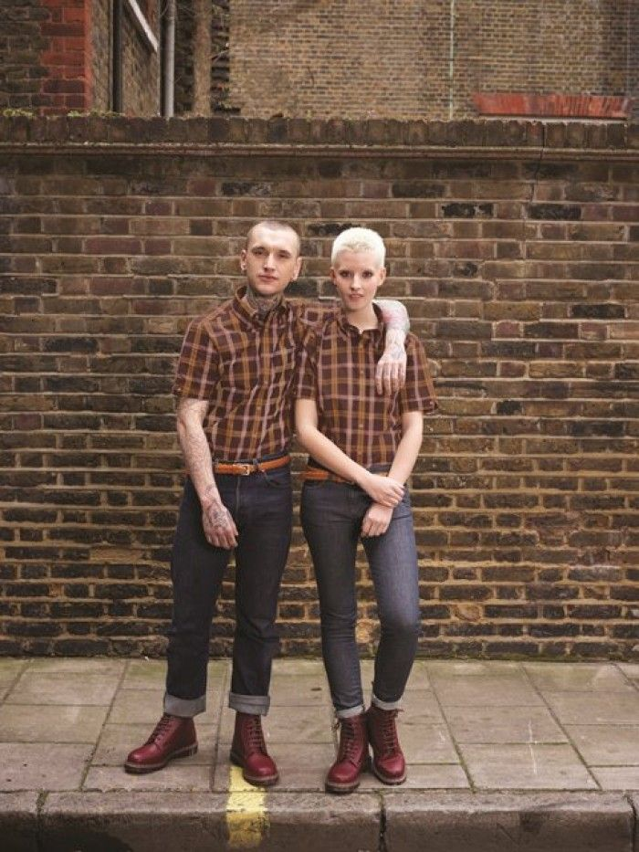 Brutus' slender cut tartan plaid shirt in oxblood and yellow colour check pattern w/ Dr Marten boot