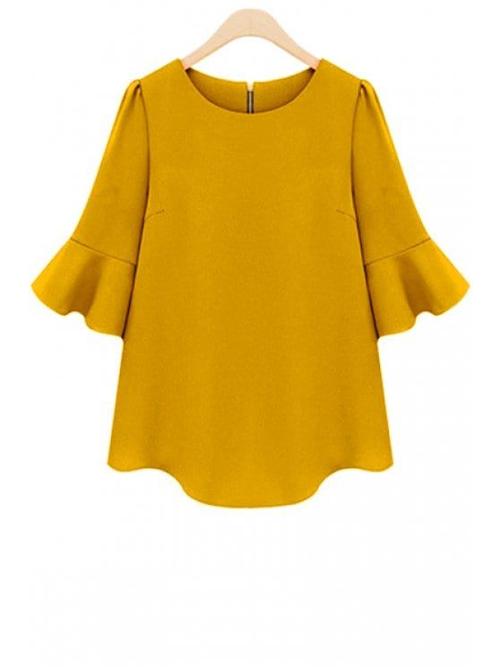 Solid Color Half Sleeve Blouse - YELLOW M