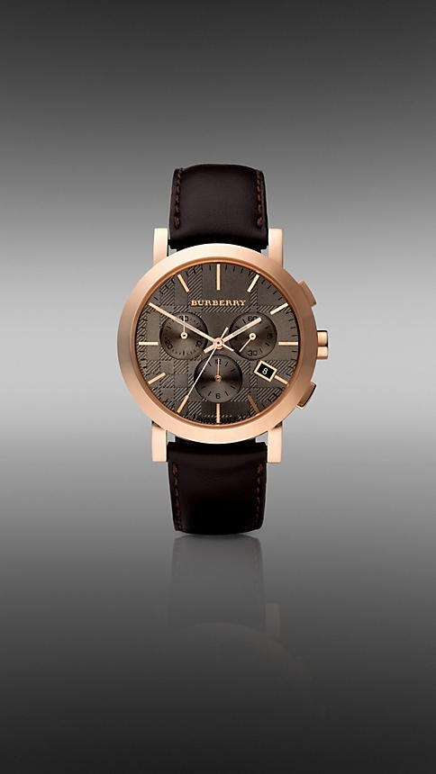 Burberry - 40MM ROSE GOLD-PLATED CHRONOGRAPH WITH LEATHER STRAP
