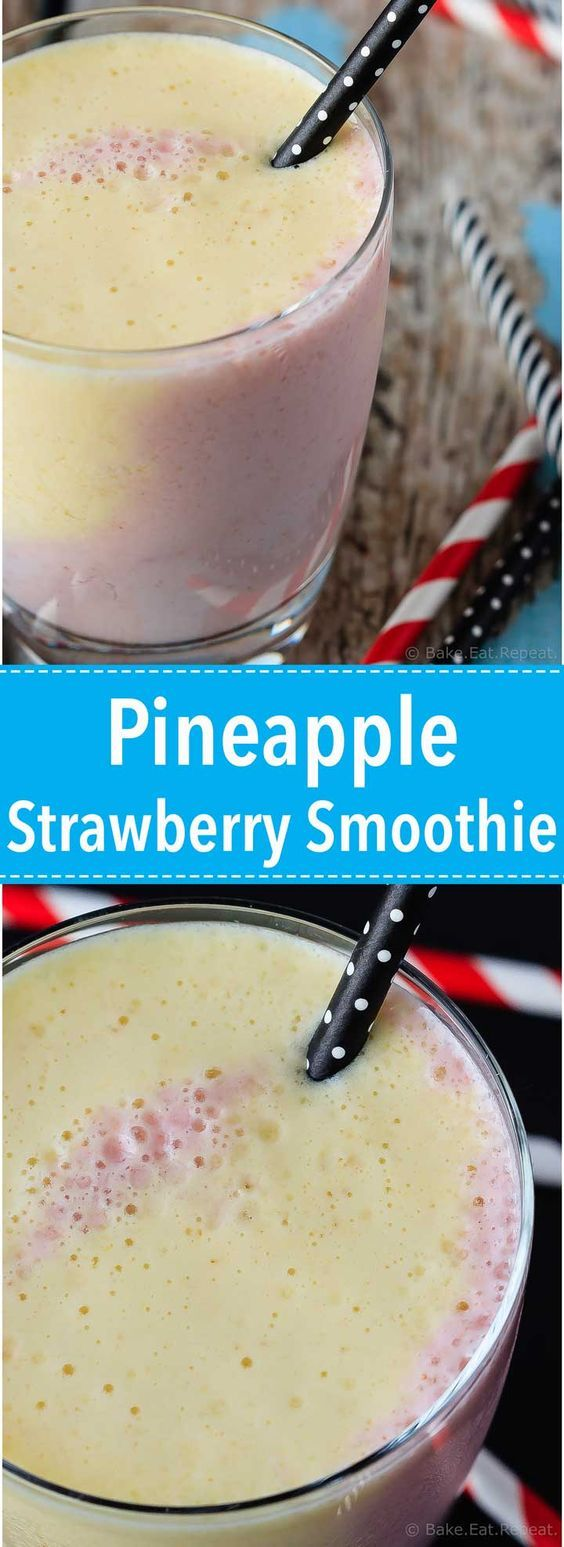 Pineapple Strawberry Smoothie - The perfect quick breakfast or snack, this pineapple strawberry smoothie healthy, tasty and filling - and so pretty with it's swirly layers!
