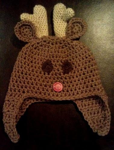 Reindeer Christmas Baby Hat.  Free Crochet Pattern