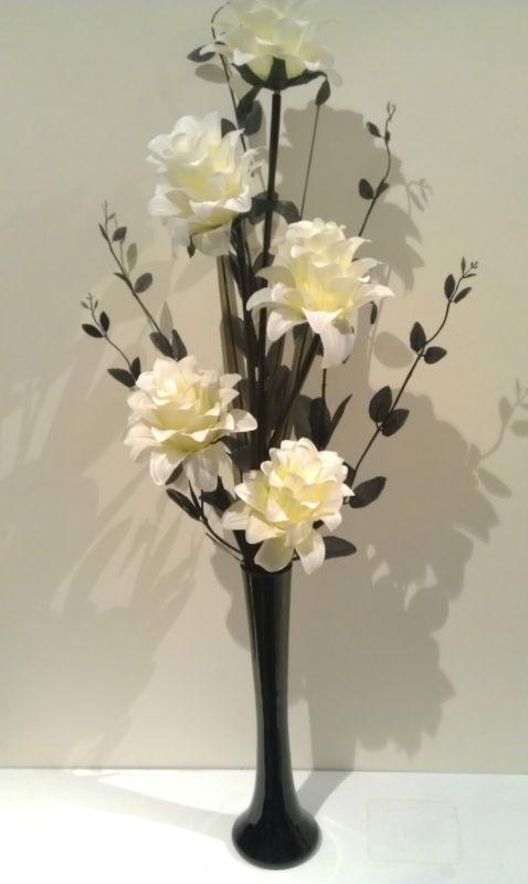 cream and black silk artificial flower arrangements in a black vase 60 cm tall | eBay