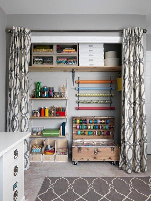 Transitional closet-organization workspace.