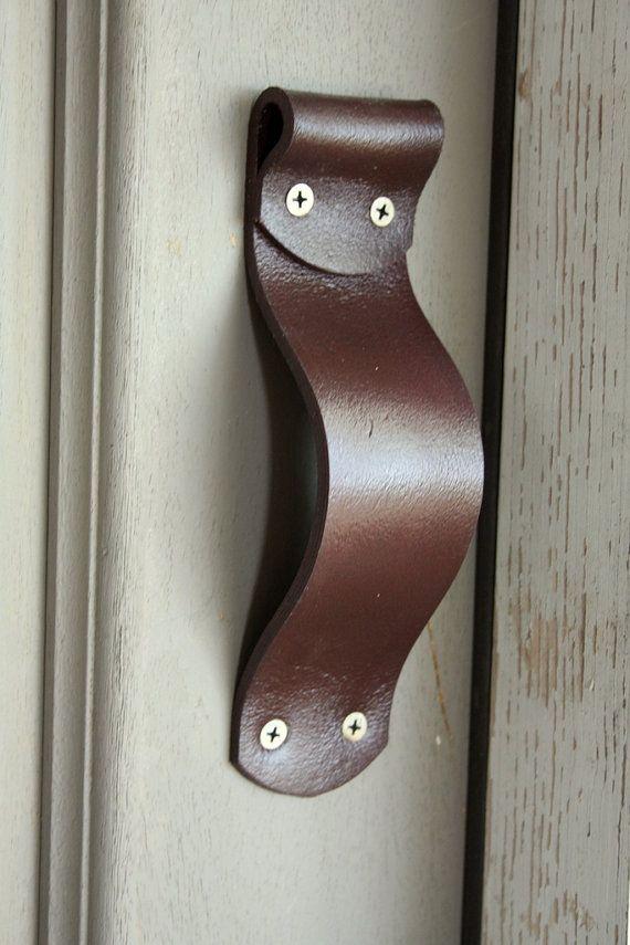 Leather Door Handles Barn Door Handles by YesterdaysNovember