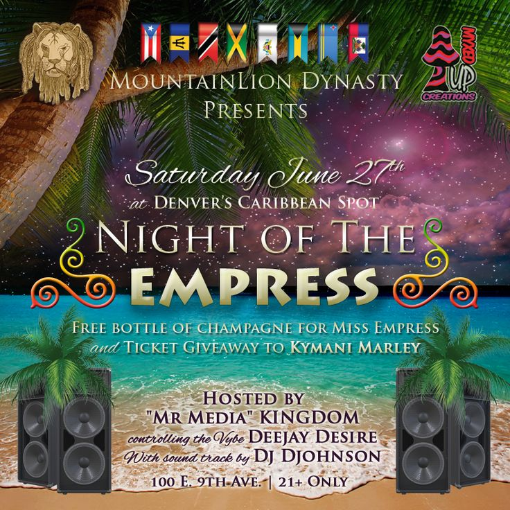 Denver Reggae Scene, Reggae Web Banner Flyer, Mountain Lion Dynasty, Night of the Empress. DJ Big Spade, DeeJay Desire, Denver's Caribbean Spot.