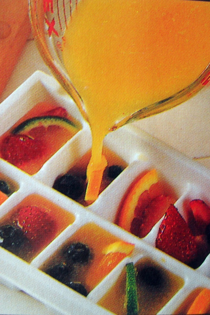 Orange juice cubes with fruit.  Add  champagne for instant mimosas.