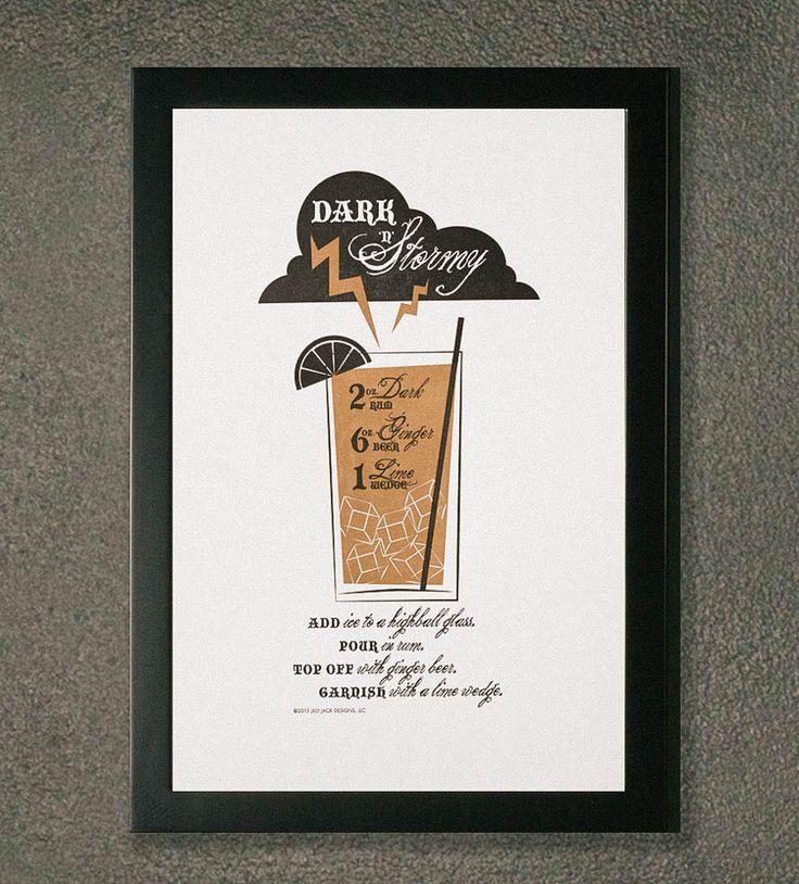 Dark N Stormy Recipe Letterpress Art Print