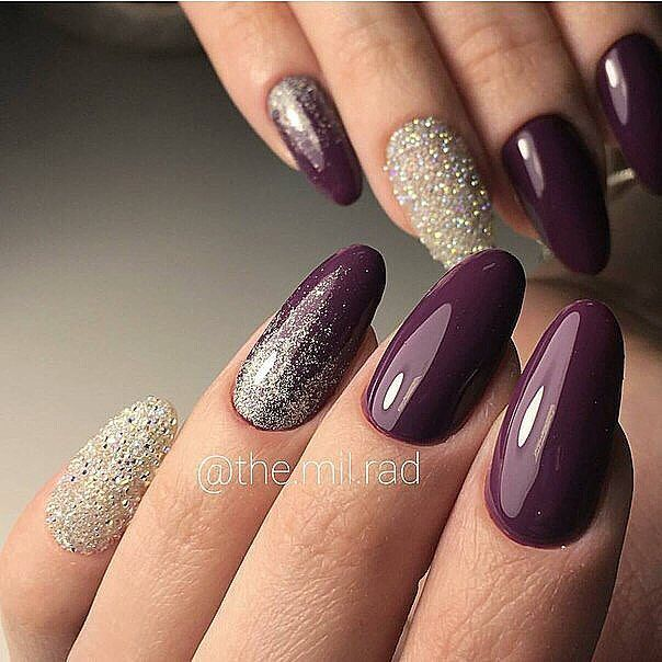 80 Dark Color Nail Designs For Women Plum Nails Luxury Nails Purple Nails