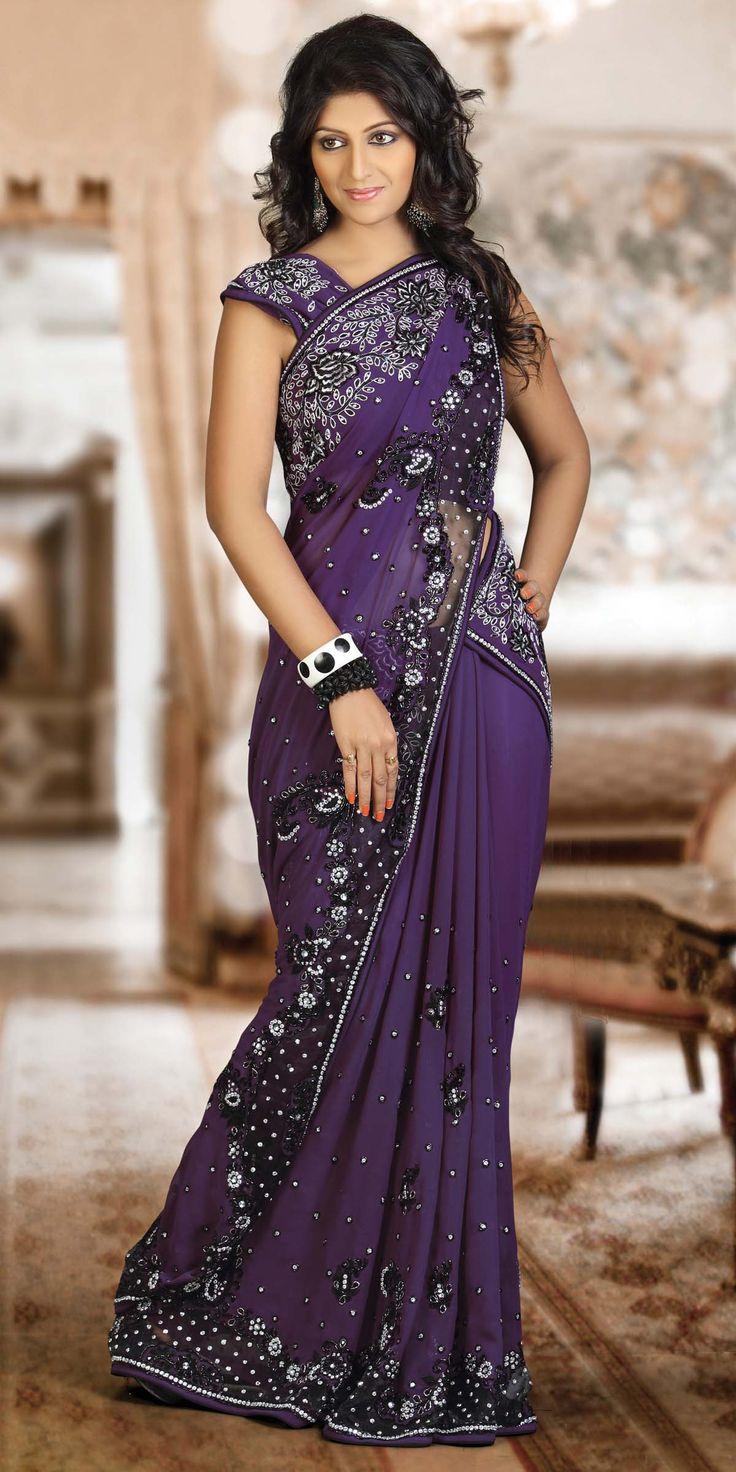 purple sari | Heartfelt Purple Saree, Purple, Georgette