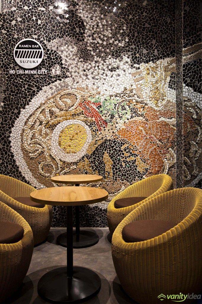 Mosaic Wall in Ramen Restaurant, Vietnam