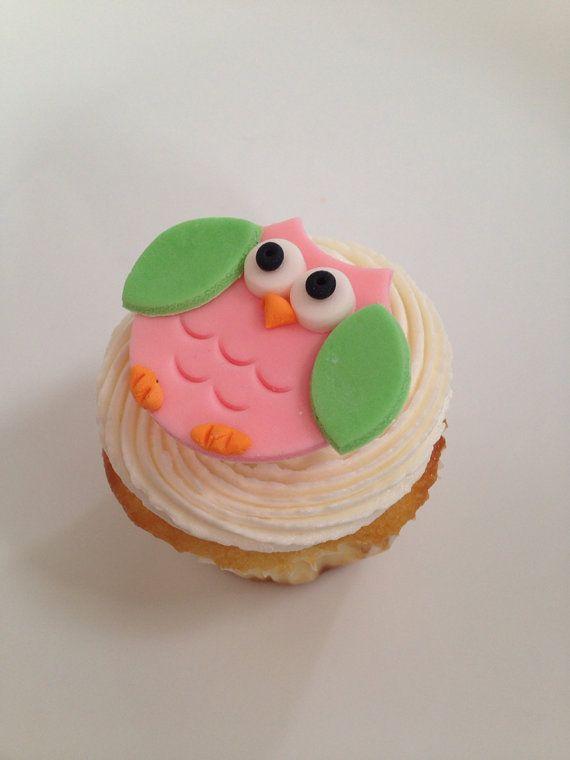 Fondant Owl Cupcake Toppers  1 dozen by robin33smith on Etsy, $15.95