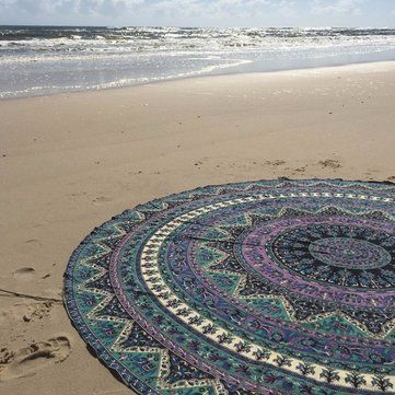 150cm Bohemian Style Thin Chiffon Beach Yoga Towel Mandala Round Bed Sheet…