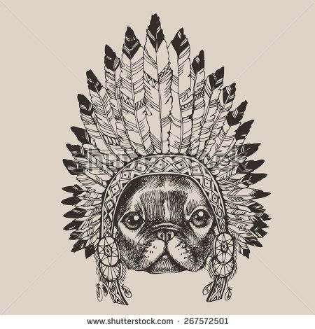 stock-vector-french-bulldog-portrait-with-native-american-indian-chief-headdress-indian-chief-mascot-indian-267572501.jpg (450×470)