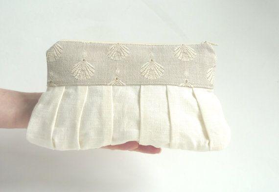 Beach wedding clutch linen clutch cream ivory purse by maplemist