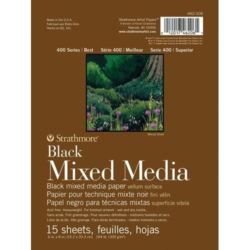 Strathmore Black Mixed Media Vellum Surface 6x8 Paper Pad 462506
