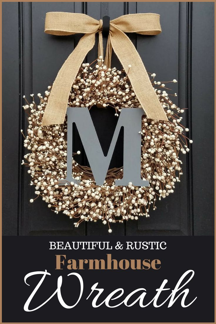 I'm so in love with this beautiful wreath. I love the rustic yet fresh farmhouse look with neutral colors. very classy! Would love this look on my front door for the winter!  #afflink #wreath #farmhouse