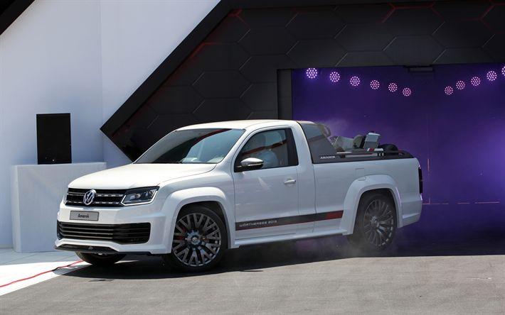 Télécharger fonds d'écran Volkswagen Amarok R, 2018 voitures, le tuning, les Vus, VW Amarok, pick-up, Volkswagen, VW