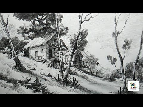 How to Draw Basic Landscape For Beginners With PENCIL | Very Easy Pencil Strokes - YouTube