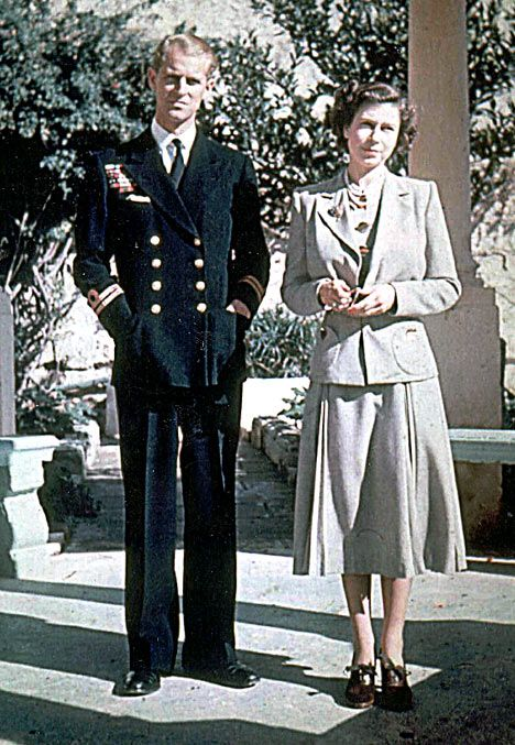 Prince Philip with Princess Elizabeth in 1947 before she became queen