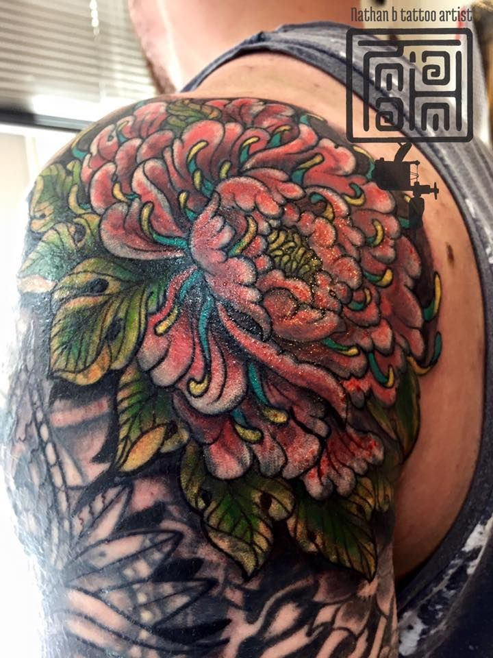 Freehand Japanese flower coverup by Nathan   #devilsown #devilsowntattoos #leicester #leicesterink #leicestertattoo #tattoo #jap #Japanese #Japanesetattoo #neotraditionaljapaneseatattoo  #coverup #coveruptattoo #freehandtattoo #floraltattoo #colour #colourtattoo #colourwork