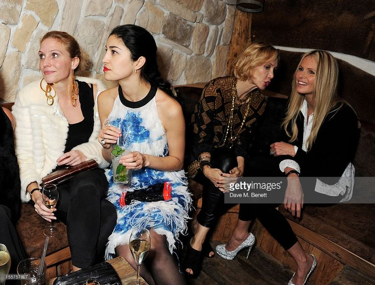 EMBARGOED FOR PUBLICATION IN UK TABLOID NEWSPAPERS UNTIL 48 HOURS AFTER CREATE DATE AND TIME. MANDATORY CREDIT PHOTO BY DAVE M. BENETT/GETTY IMAGES REQUIRED) (L to R) Guest, Caroline Issa, Allegra Hicks and Elle Macpherson attend as Elizabeth Saltzman hosts a private dinner celebrating the launch of Piers Adam's new restaurant 'Bodo's Schloss' on High Street Kensington on November 7, 2012 in London, England.