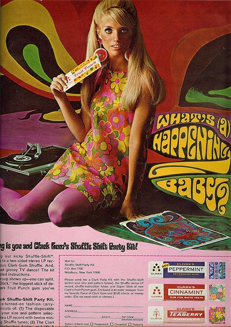 Order a party kit with a paper dress, chewing gum and an LP record. What's a happening, baby? by sugarpie honeybunch, via Flickr