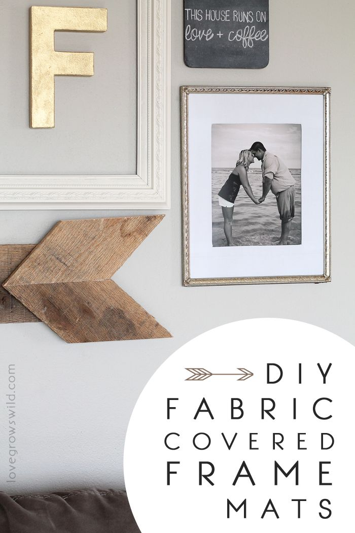 The BEST trick for creating a beautiful gallery wall on a budget! Learn how to turn old cereal boxes into Fabric Covered Frame Mats with this easy tutorial from LoveGrowsWild.com