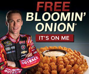 Grab your Free Bloomin' Onion TODAY!  This past weekend, Kevin Harvick finished in the top 10 in the Monster Energy race and that means you can get a Free Bloomin' Onion at Outback Steakhouse! Just mention 'Bloomin' Onion' to your server.  Valid with ANY purchase at participating restaurants only, so you may want to check to see if yours is participating before heading out.  ONLY available today only, July 17th, 2017. http://ifreesamples.com/free-bloomin-onion-outback-steakhouse-today-2/