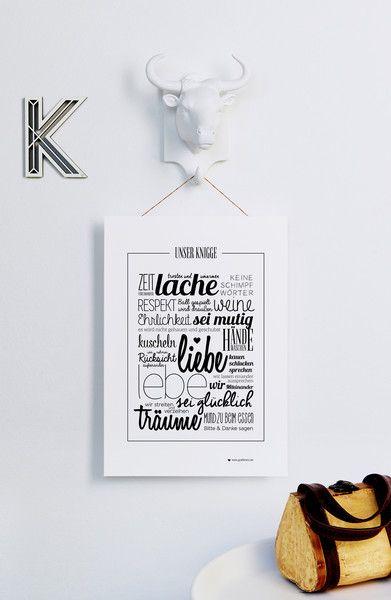 """""""UNSER KNIGGE"""" Hausordnung Druck SCHWARZ von grafikherz – feine Typografie + Grafik für Dein Zuhause auf DaWanda.com"""