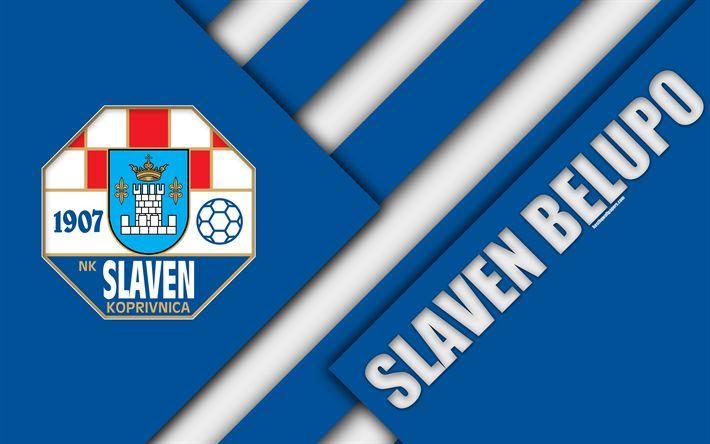Download wallpapers NK Slaven Belupo, Koprivnica, 4k, white blue abstraction, Slaven logo, material design, Croatian football club, Croatia, Prva HNL, football, Croatian First Football League