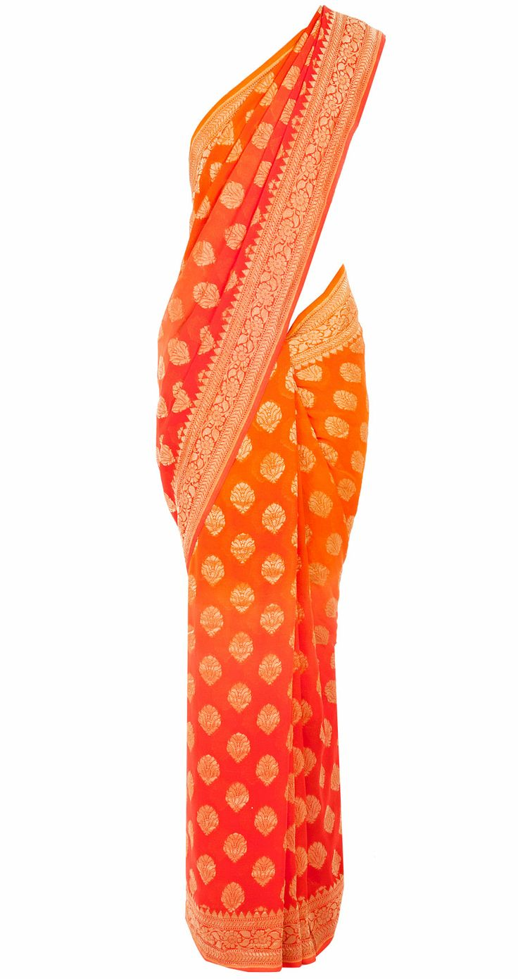 Orange and coral ombre banarasi sari available only at Pernia's Pop-Up Shop. Shweta Rao <3