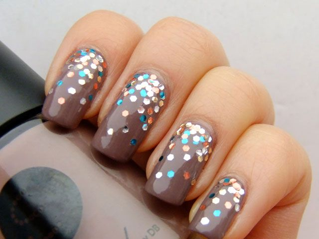 39 Glitter Nail Polish Ideas. This one is OPI The Living Daylights over Savvy Irish Coffee. (Would also look good mattified)
