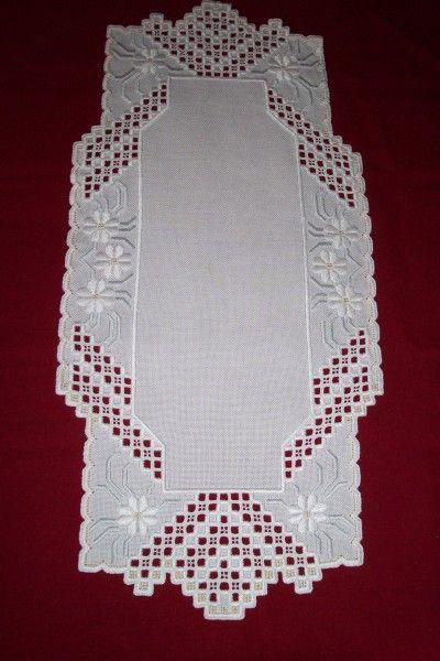 White Flower Hardanger Table Runner