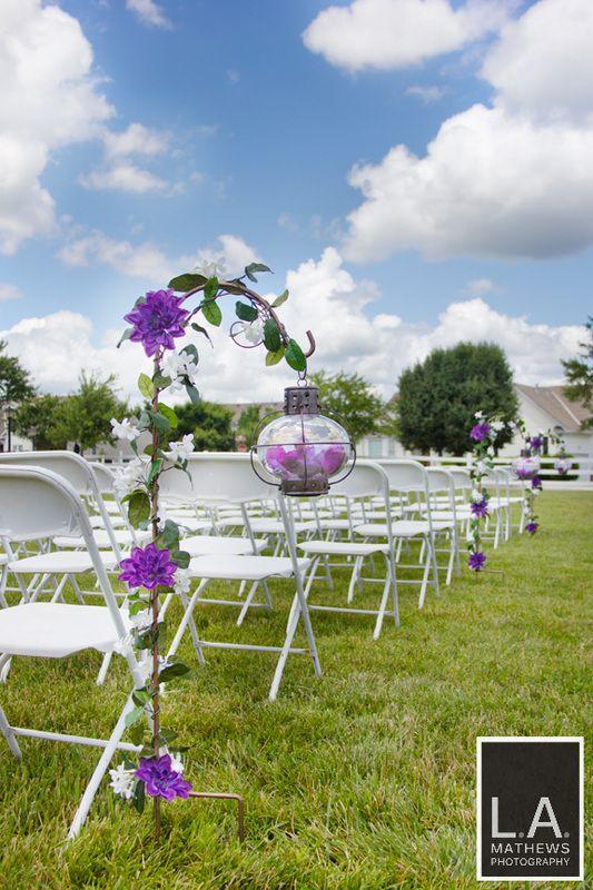 Purple Wedding Isle Decorations - L.A. Mathews Photography