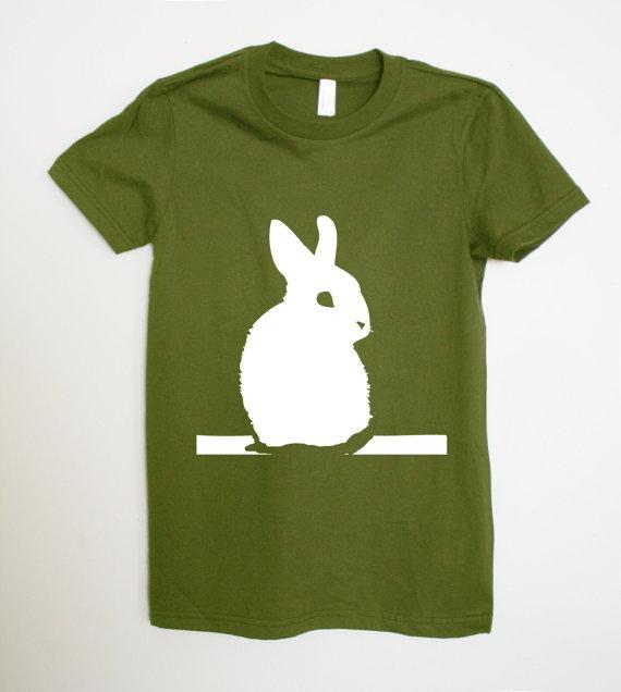 Olive+Green+White+Rabbit++American+Apparel+Tshirt+by+rabbitandeye,+$18.00