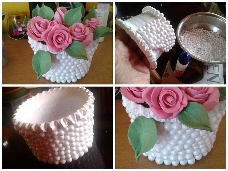Thermocol Balls Decorate Flower Vase Crafts Pinterest