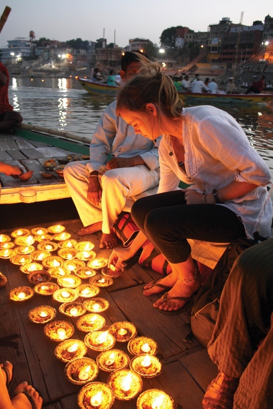 """November 1, Day 3: To Varanasi, Evening Ceremony. Fly to the """"Eternal City"""" of Varanasi - India's most sacred city. Many devout Hindus move to Varanasi to end their days and have their ashes scattered in the holy Ganges. Overnight in Varanasi."""