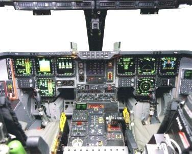 Stealth aircraft cockpit.