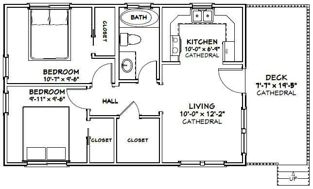 30x20 House 2 Bedroom 1 Bath 600 Sq Ft Pdf Floor Plan Etsy 20x30 House Plans Cabin Floor Plans Duplex House Plans