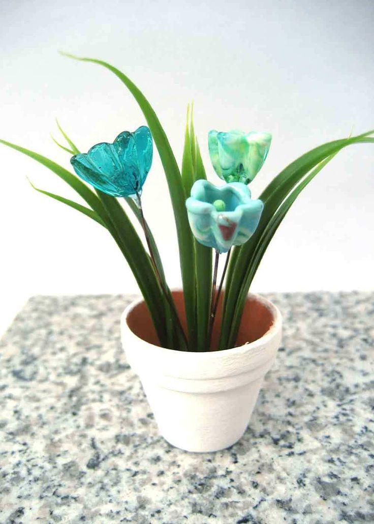 Glasblume-Aqua. Aussergewöhnliches Blumen - Geschenk. Immerblühende Glasblumen aus Muranoglas. Handgemacht - Unikat