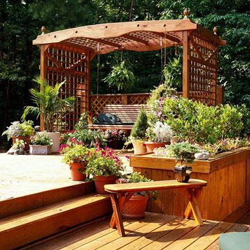 Backyard Landscaping Ideas Garden Structure Lovely Lattice Garden Structure:  A Swing Surrounded By A Lattice