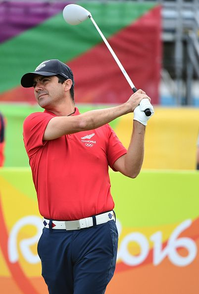 #RIO2016 Chile's Felipe Aguilar competes in the men's individual stroke play at the Olympic Golf course during the Rio 2016 Olympic Games in Rio de Janeiro on...