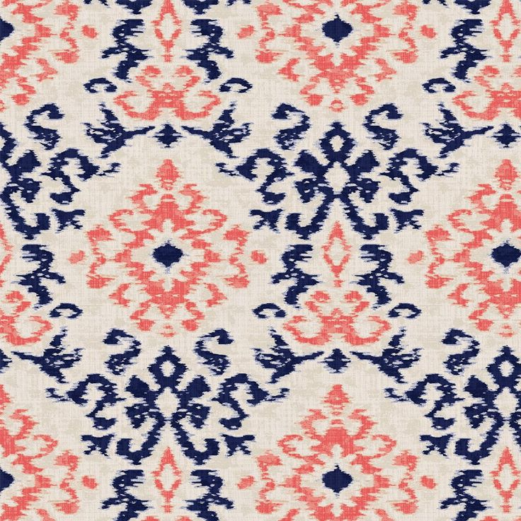 Navy and Coral Ikat Damask Fabric by Carousel Designs.