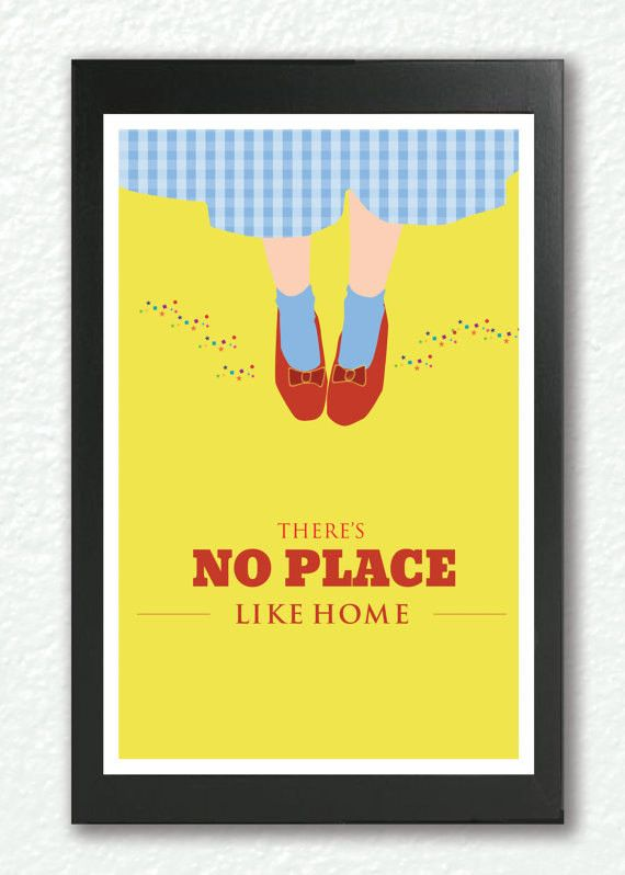 """Inspirational quote print, """"There's No Place Like Home"""" Classic Movie Poster, quote poster, Retro poster pop art, A3 Poster"""