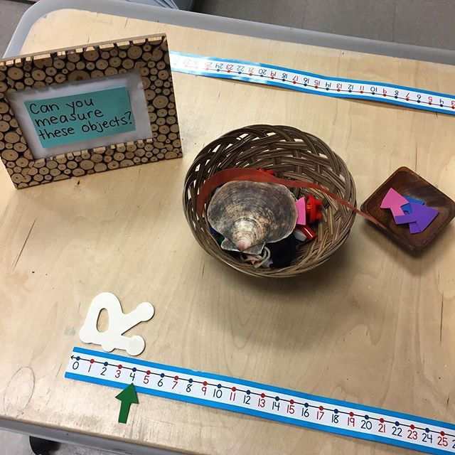 Our new measurement provocation. Exploring standard and non-standard measurement. #fdk #kindergarten #provocation #reggioinspired #math #mathprovocation #kindergartenmath #measurement #nonstandardmeasurement