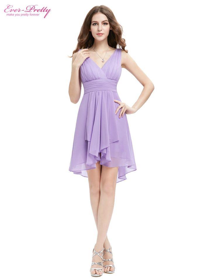 HE03644 Ruffles Vestido de dama de honor Siempre Pretty Una Línea Nueva de la Llegada V Cuello Alto Bajo Dama de Honor de la Lila Vestidos de 2017