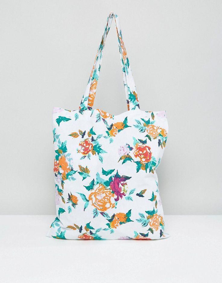 Vero Moda Floral Print Tote Beach Bag - Multi