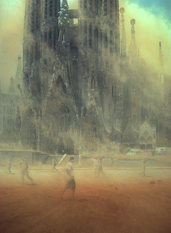 """ilustração surreal,com nome de """"mudança climática""""."""